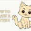 how to draw kitten really easy
